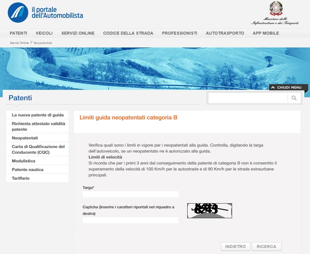 Homepage Portale dell'automobilista