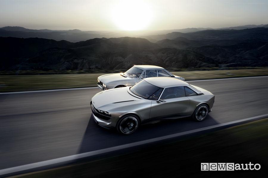 Peugeot e-Legend Concept affianco alla 504 Coupé