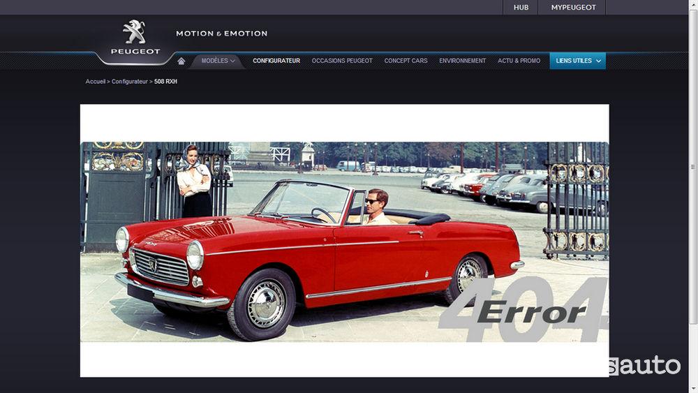 Errore 404 Peugeot web
