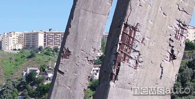 Ponte Morandi di Catanzaro danni piloni