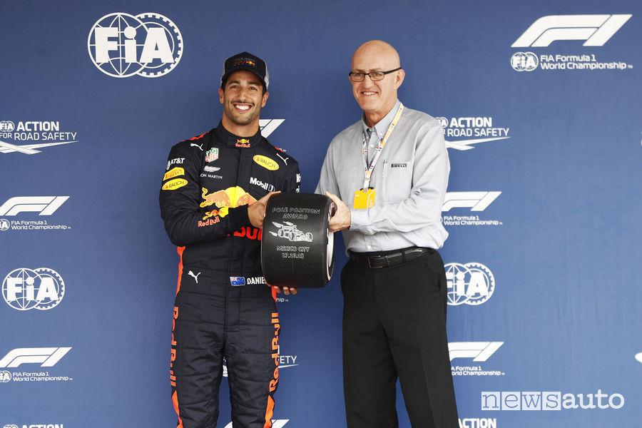 F1 2018 Gp Messico premiod ella pole position a Daniel Ricciardo
