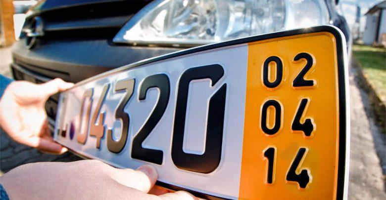 targa temporanea tedesca banda gialla