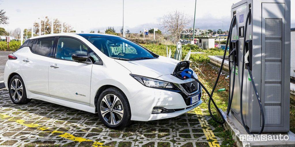 L'auto elettrica 100%, la Nissan Leaf in ricarica alla colonnina Fast EVA+ esenzione bollo auto 2019 veicoli elettrici