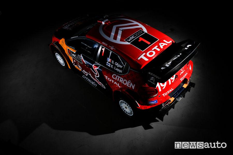 Citroen C3 WRC 2019, vista dall'alto