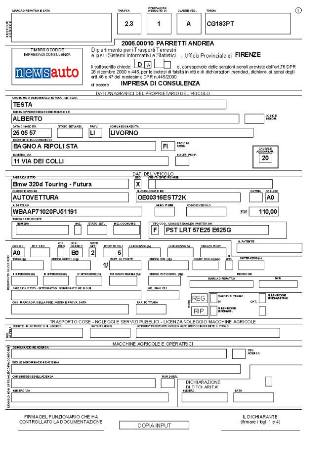 come ottenere il certificato per la classificazione di veicolo d'interesse storico modulo TT 2119