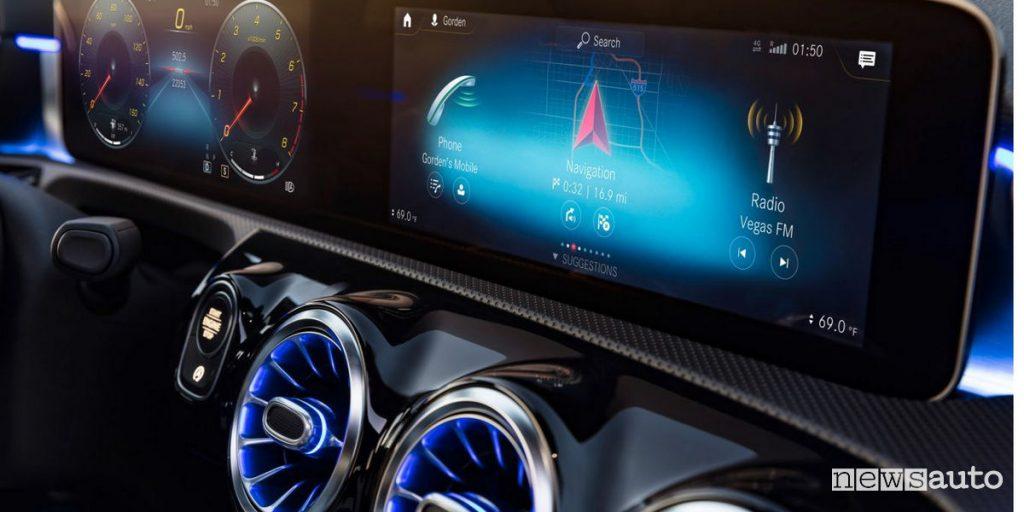 I sistemi multimediali di bordo: monitor dell'MBUX di Mercedes