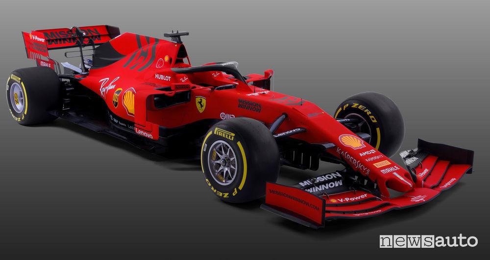 F1 2019 Ferrari SF90, vista di profilo