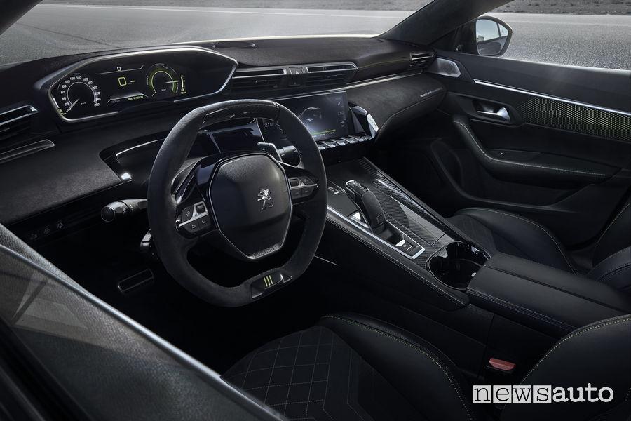 Leva cambio automatico EAT8 a bordo della Peugeot 508 Hybrid PSE