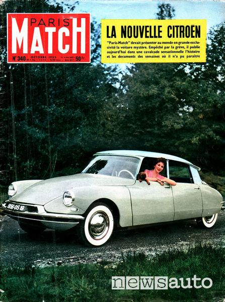 DS 19 e Gina Lollobrigida sulla copertina di Paris Match nel 1955