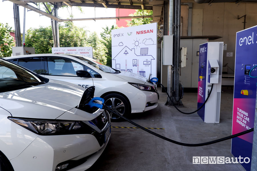 Nissan Leaf test tecnologia Vehicle To Grid