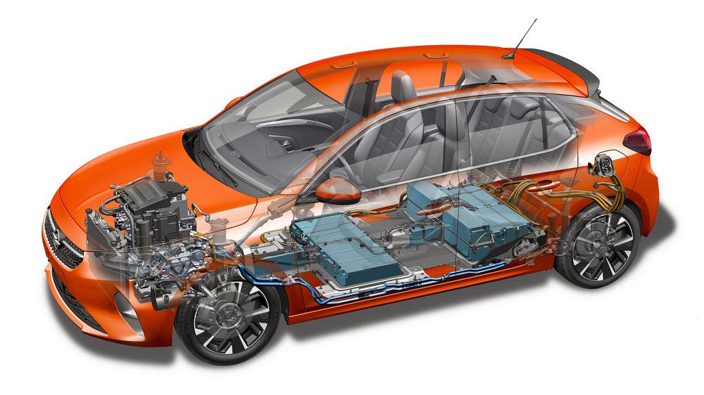 Opel Corsa-e elettrica dove sono le batterie