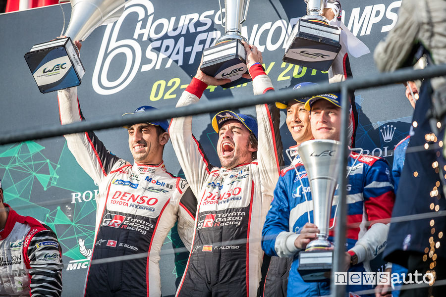 WEC 2019 6 ore Spa-Francorchamps podio Alonso/Nakajima/Buemi