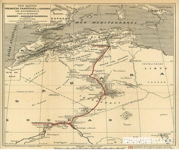 """Mappa spedizione del Sahara nel 1922 con l'autocingolato Citroën """"Scarabée d'Or"""""""