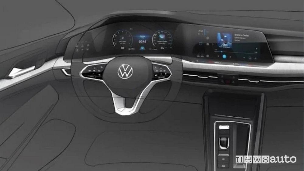 Bozza degli interni della nuova Volkswagen Golf 8