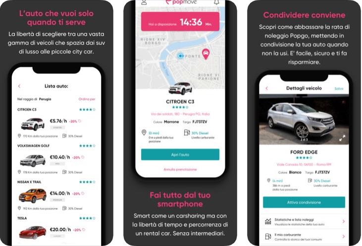 App Popmove noleggio auto condivisa car sharing