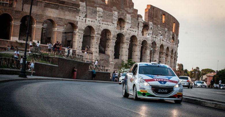 Rally di Roma Capitale 2019 Peugeot 208 R2 Ciuffi/Gonella davanti al Colosseo