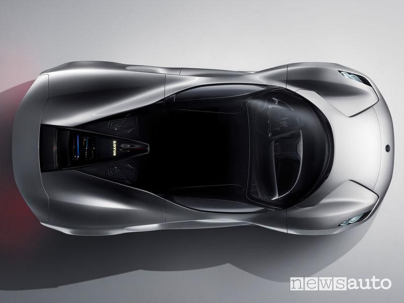 Lotus Evija hypercar elettrica vista dall'alto