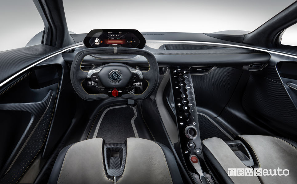 Lotus Evija hypercar elettrica plancia strumenti
