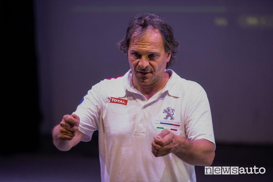 Paolo Andreucci professore al corso di rally con Peugeot al Ciocco