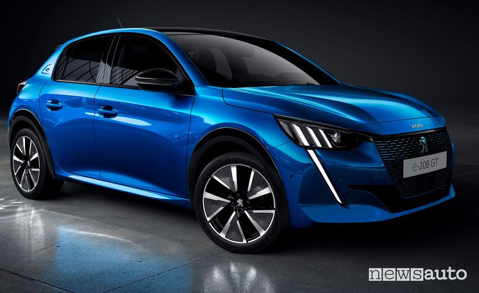 Nuova Peugeot e-208 elettrica vista di profilo