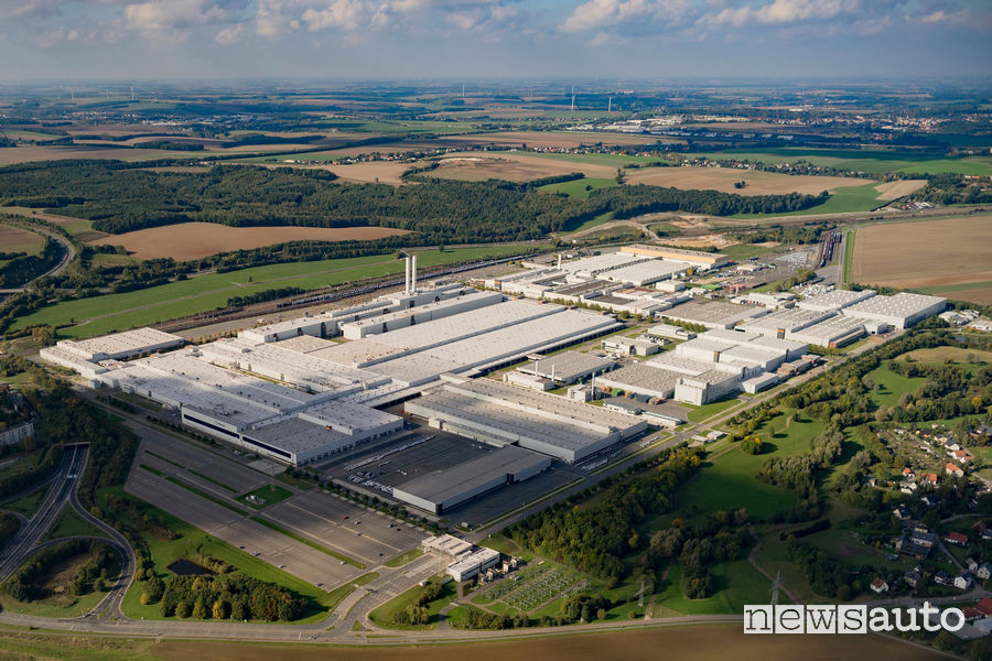 Vista aerea della fabbrica Volkswagen di Zwickau