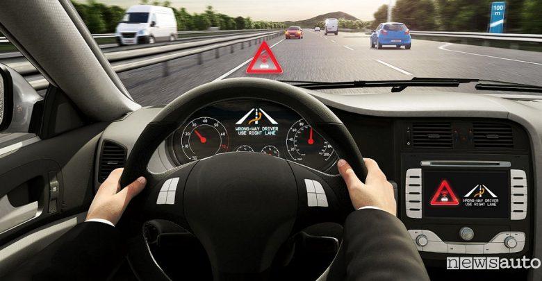 guida contromano wrong-way driver warning Bosch