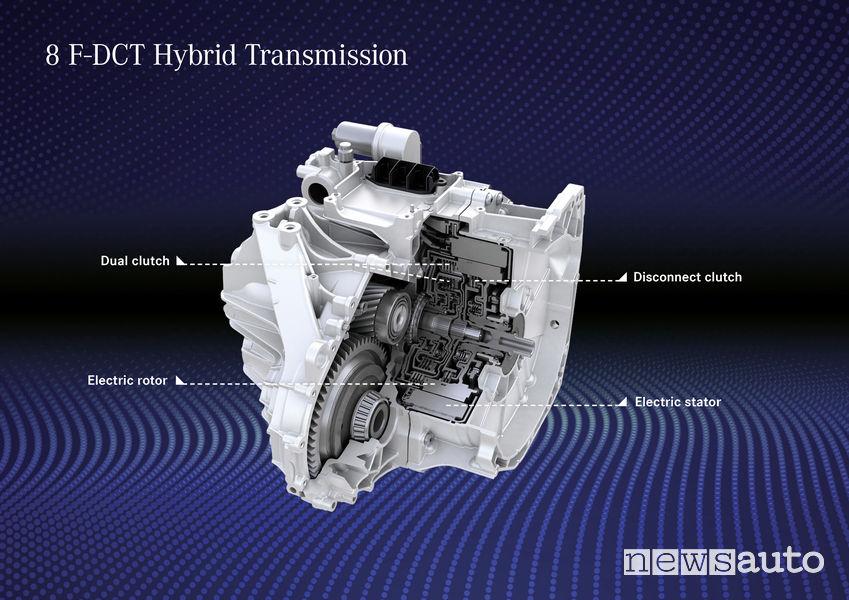 Mercedes-Benz Classe A Plug-in-Hybrid cambio a doppia frizione 8F-DCT