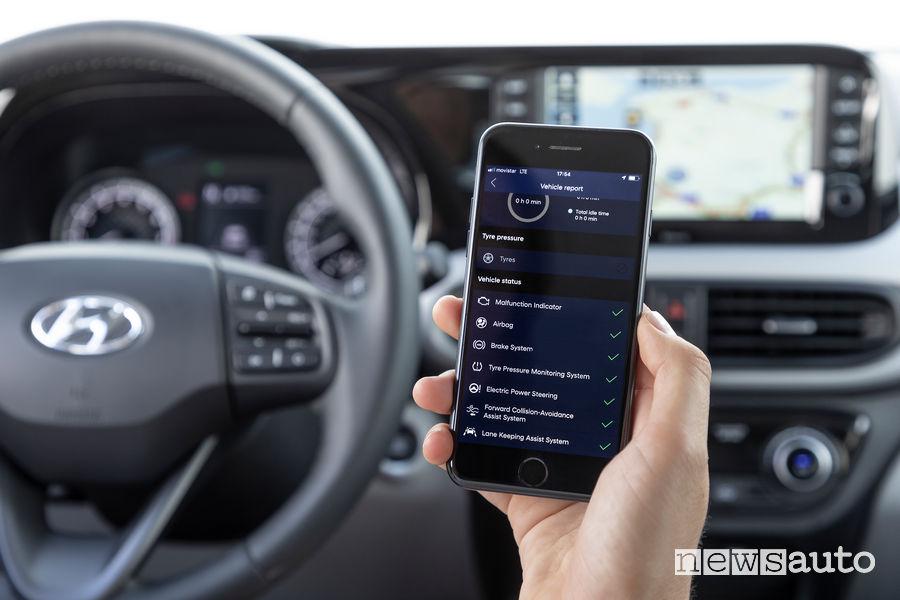 App per controllo da remoto della nuova Hyundai i10 App Bluelink