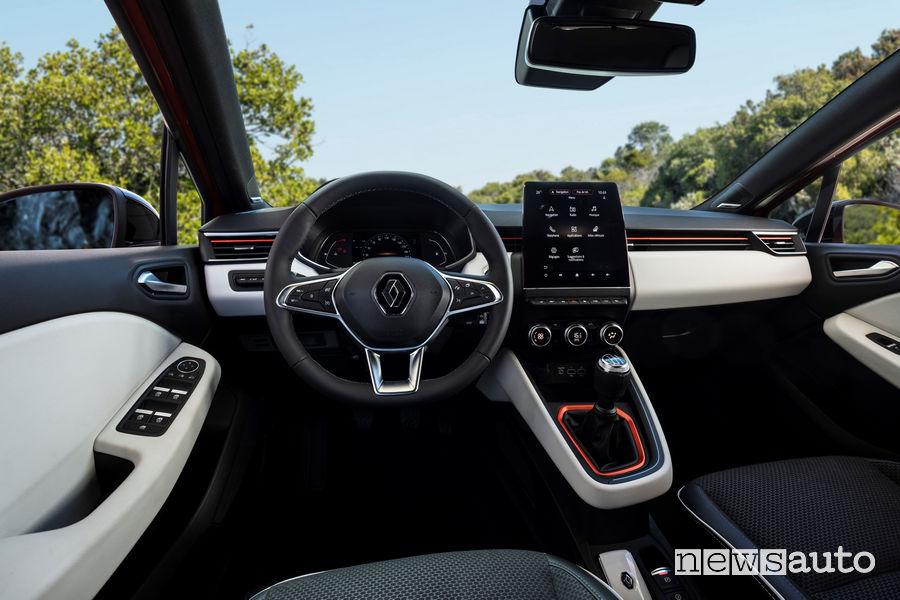 Nuovo abitacolo con schermo touch screen verticale Renault Clio 2020