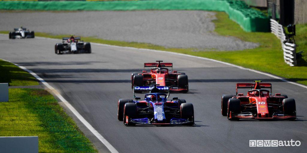 Taffico in pista a Monza qualifiche del Gp dItalia 2019