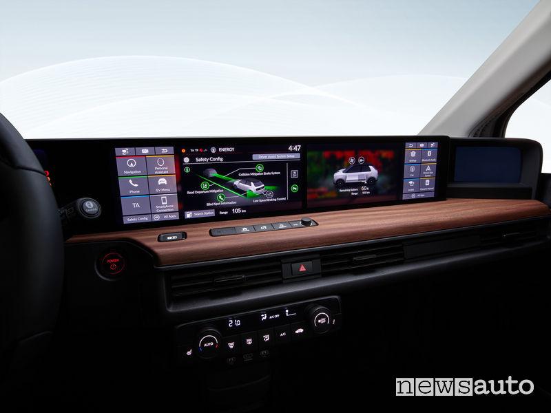Honda e elettrica plancia digitale infotainment