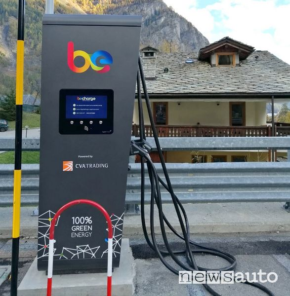 Stazione di ricarica rapida Be-Charge Fast (fino a 150 kW) sul Monte Bianco