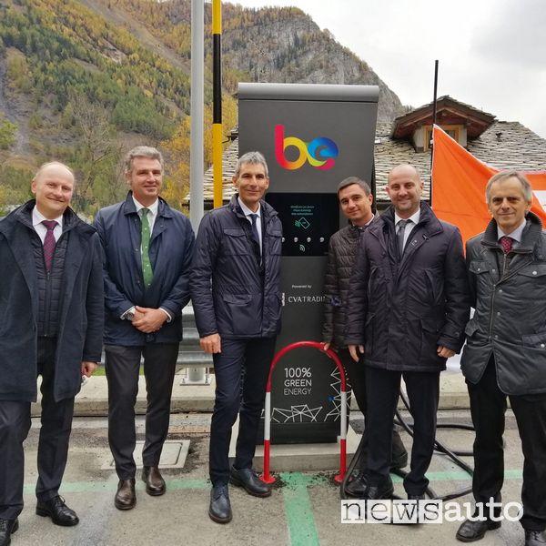 stazione Be-Charge Fast (fino a 150 kW) sul Monte Bianco in Val d'Aosta