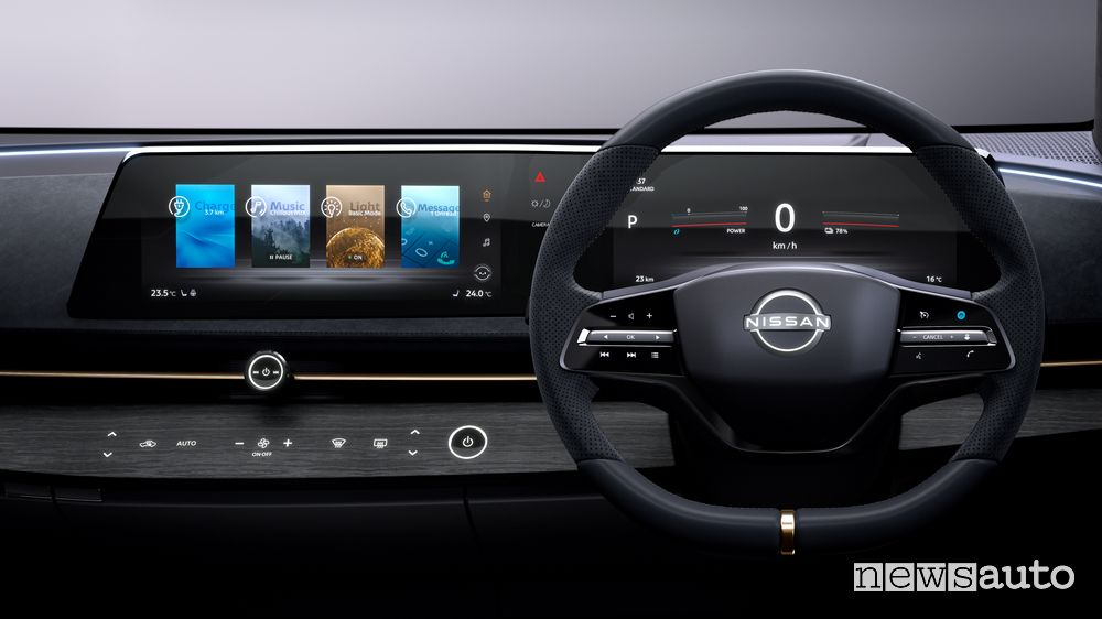 Plancia strumenti, volante concept Nissan Ariya