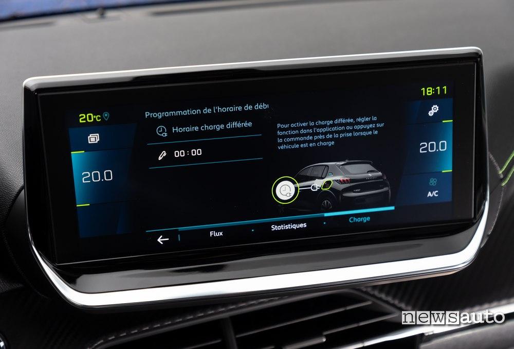 ricarica programmata Peugeot e-208 2020