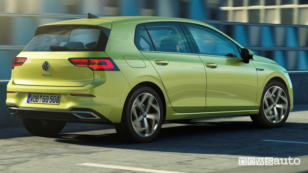 Vista posteriore Volkswagen Golf 8 2020
