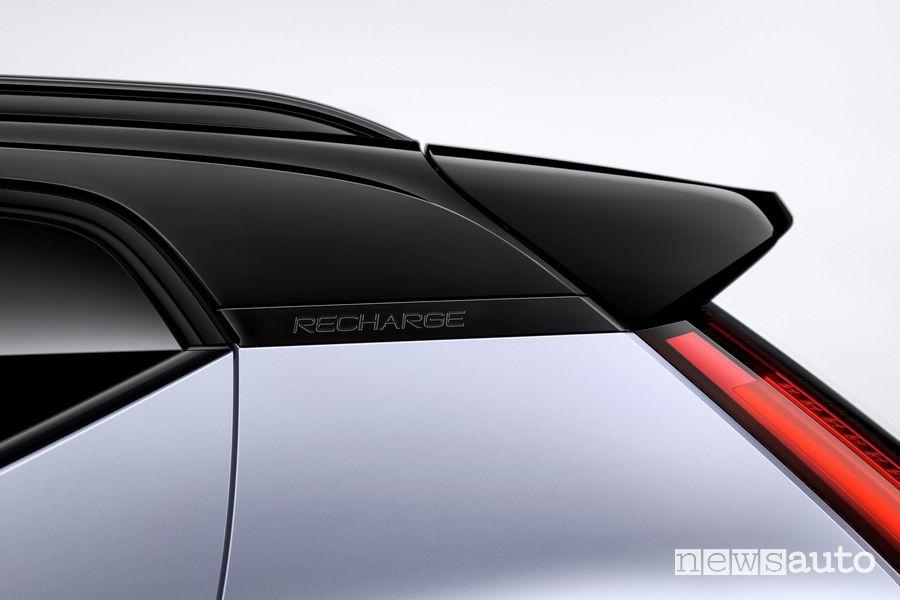 Spoiler posteriore badge Recharge Volvo XC40 elettrica