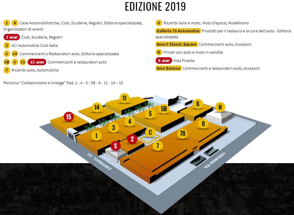 Mappa Auto e Moto e d'Epoca di Padova 2019