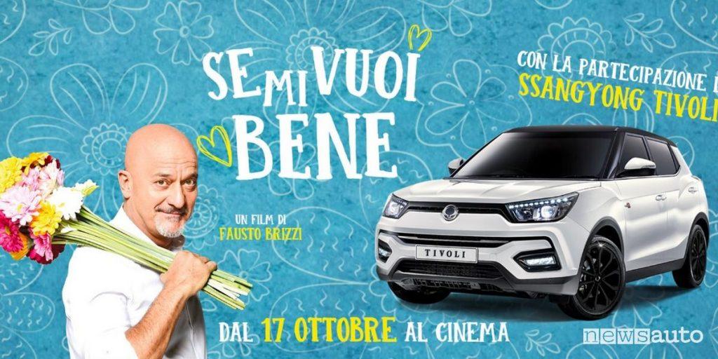 """Locandina film """"Se mi vuoi bene"""" con Claudio Bisio e il crossover Ssangyong Tivoli."""
