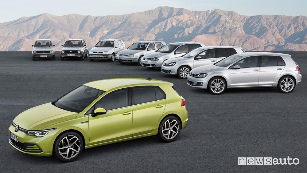 Otto generazioni di Volkswagen Golf