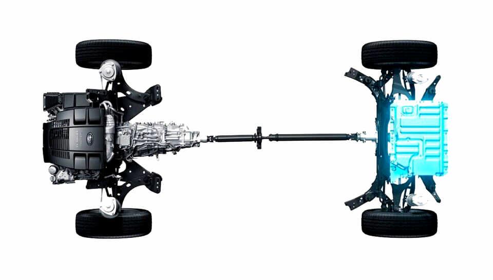 Schema trasmissione e motore elettrico del Subaru ibrido