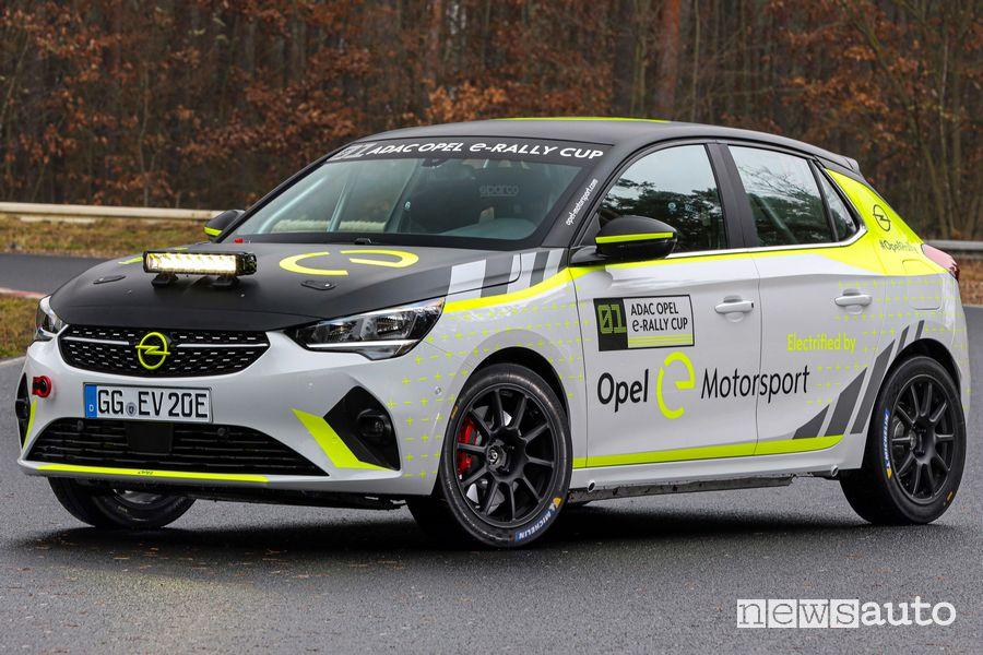 Vista di profilo Opel Corsa-e Rallye