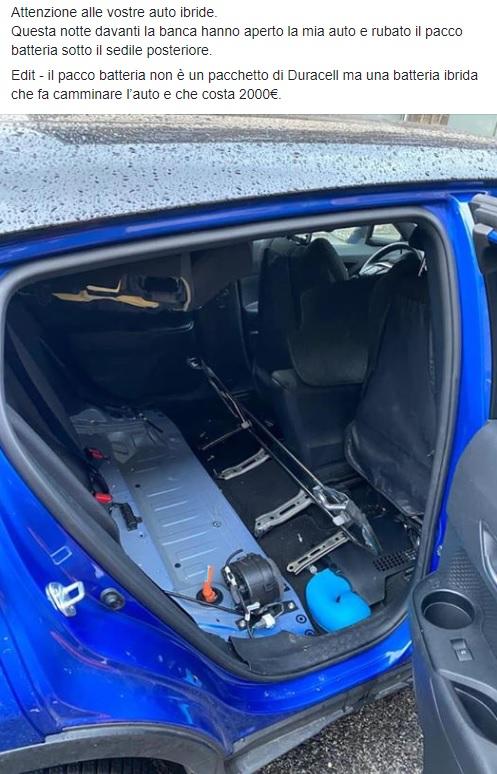 Segnalazione a Roma furto batteria a litio auto ibrida