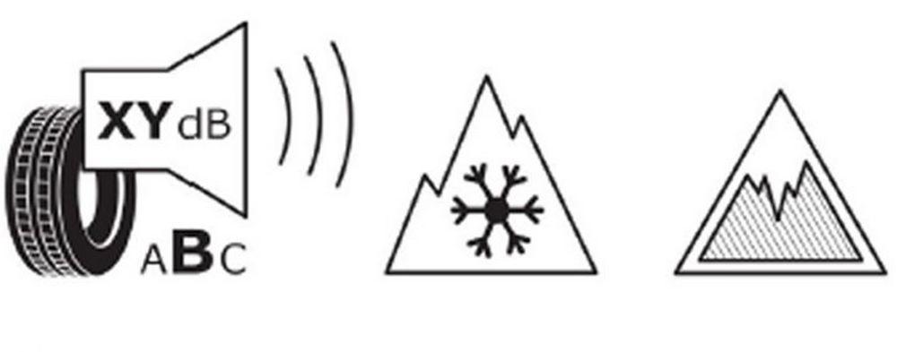 Pittogramma neve e ghiaccio etichetta pneumatici