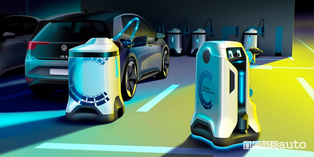 robot Volkswagen ricarica auto elettriche