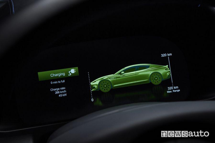 Schermata autonomia quadro strumenti Aston Martin Rapid E auto elettrica