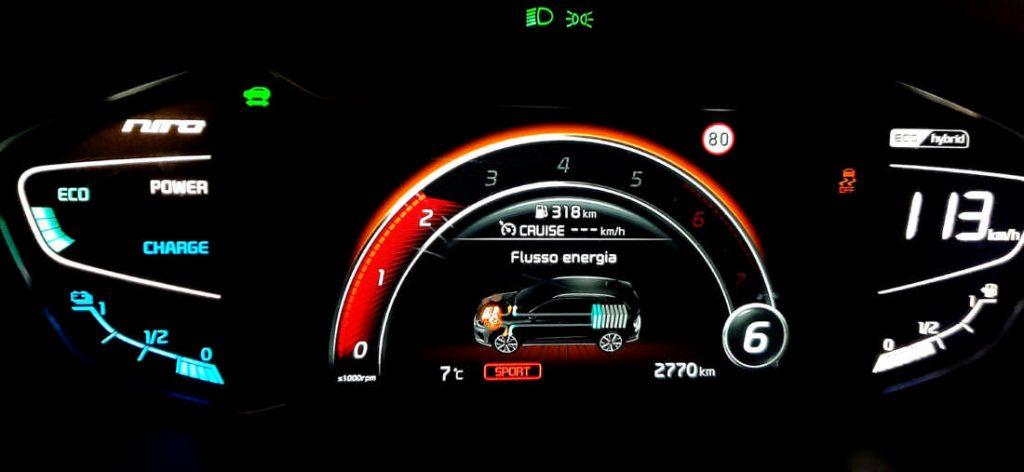 Cruscotto digitale della Kia Niro in modalità SPORT, cambia colore sul rosso e cambia la grafica e le informazioni. Si aggiunge la marcia inserita.