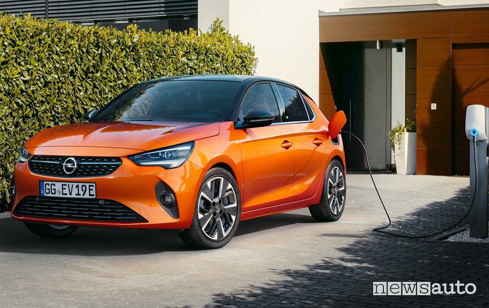 ricarica Opel Corsa-e elettrica