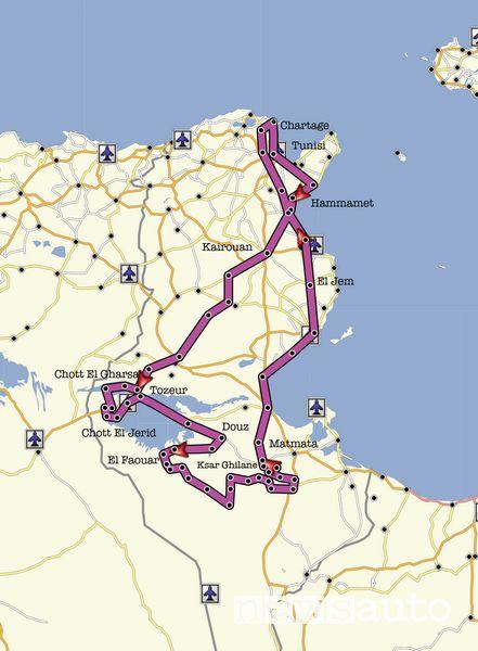 Mappa percorso viaggio in Tunisia in fuoristrada