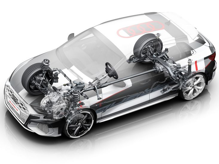 Schema tecnico trazione integrale Audi A3 Sportback 2020 camuffata prototipo